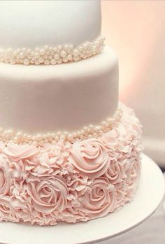 Three Tiered Wedding Cake with Roses and Pearls
