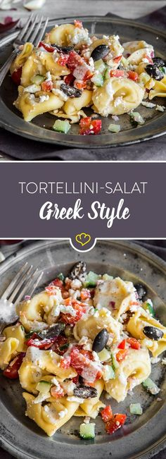 Today your tortellini salad gets Greek roots - thanks to feta and olives! Cucumber, tomato, bell pepper and a yoghurt dressing complete the whole thing. Italian-Greek tortellini salad with feta Sigi Kylau sigikylau essen Today your tortellini salad Greek Tortellini Salad, Pasta Salad, Tortellini Pasta, Pasta Recipes, Salad Recipes, Healthy Recipes, Recipe Pasta, Cucumber Recipes, Greek Recipes