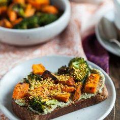 "O Cafe's Roasted Veggie Toast with Pumpkin Seed ""Tahini"" and Popped Turmeric Amaranth"
