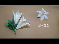 Origami Lily in Bud 折纸百合含苞欲放 Origami Lily, Origami Paper, Diy Paper, Paper Crafts, Origami Flowers Tutorial, Flower Tutorial, Origami Videos, Paper Folding, Diy Home Crafts