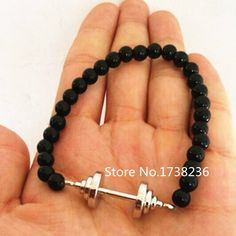 New Fashion High Quality Alloy Rhodium Plated Fitness Barbell Charm Black Beads Bracelet