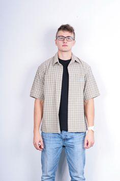 Dakar Adventure Wear Mens L Casual Shirt Check Short Sleeve Cotton Brown