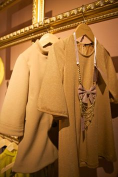 Luxury childrenswear with camel wool coat and golden lurex dress at Lamantine Paris for winter 2012