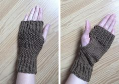 Lula Louise: Free Knitting Pattern – Fingerless Knitted Mitts ~ love the texture on the front smooth palm! Easy Knitting, Knitting Patterns Free, Loom Knitting, Knitting Machine, Hat Patterns, Knitting Tutorials, Crochet Patterns, Knitted Mittens Pattern, Knit Mittens