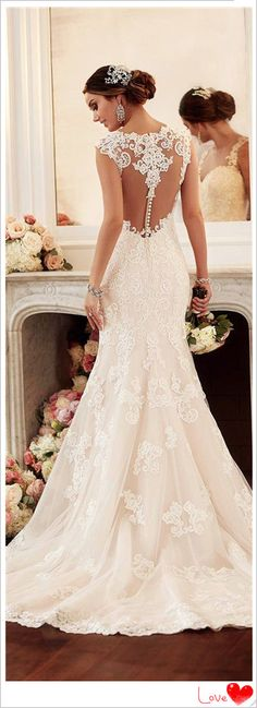 "lace wedding dress-** EXPLORE Theme Design ""Wedding Invitation Sets"" GO TO... http://WeddingInvitationSets.com/"