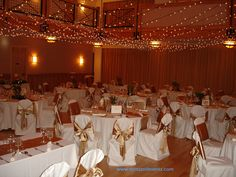 Twinkle lighting and chair covers in the Silverthorne Pavilion, Colorado Tent Decorations, Festival Wedding, Chair Covers, Pavilion, Colorado, How To Memorize Things, Space, Lighting, Party