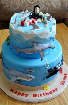 """""""scuba diving with sharks"""" cake!  Now THIS is a cake I have been waiting to see!  MORE Scuba Diving Cakes please!"""