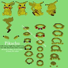 3D Pikachu perler pattern by freebeadspatter