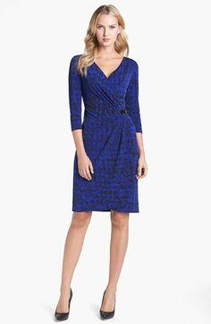 Tahari Print Jersey Faux Wrap Dress (Petite) | Nordstrom