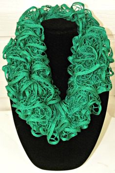 Ruffle Scarf Teal Green  Hand Knit by KnitsByL on Etsy, $16.00
