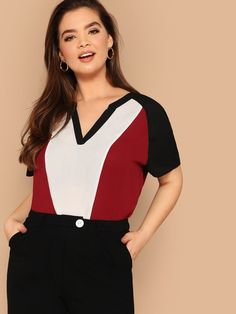 To find out about the Plus V-neck Raglan Sleeve Colorblock Top at SHEIN, part of our latest Plus Size Blouses ready to shop online today! Plus Size Blouses, Plus Size Tops, Plus Size Dresses, Plus Size Women, Plus Size Outfits, Dresses Uk, Fall Dresses, Evening Dresses, Big Girl Fashion
