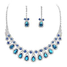 Multi Blue Rhinestone Teardrop Loop Collar Necklace Set Bridal Bridesmaid prom DP2