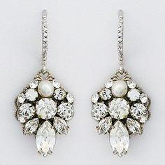 Bridal Earrings. Wedding Earrings ~ Haute Bride Earrings. Petite filigree crystal bridal earrings featuring a marquis crystal & freshwater pearl. Understated sparkle for brides, parties, evening wear.