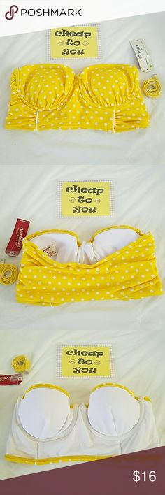 👙NWT. SWIMWEAR TOP . SIZE M NWT. Never worn. Perfect condition. Yellow poka dot. With wire and removible padding.  Very pretty !! Arizona Jean Company Swim