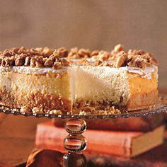 MyRecipes recommends that you make this Praline-Crusted Cheesecake recipe from Southern Living