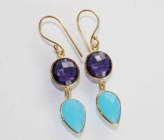 Charming Amethyst & Chelcedony 24k Gold Plated Earring For Girls/ Womens Zj-869 #Handmade #DropDangle