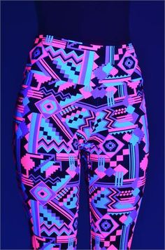 Neon Pink & Black Aztec Print Leggings