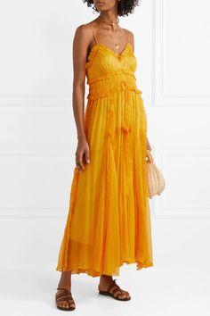 8fbe7472784 Lee Mathews - Lilla ruffled silk-crepon maxi dress