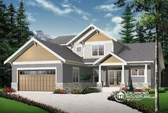 CRAFTSMAN BUNGALOW HOUSE PLAN 4 bedrooms, large master suite on main, home office for 2, open floor plan, pantry, fabulous kitchen, cathedral ceiling with mezzanine ! http://www.drummondhouseplans.com/house-plan-detail/info/anniston-2-american-1002997.html