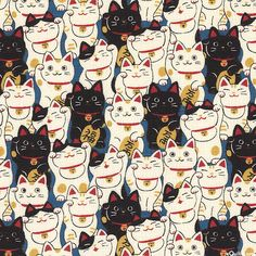 black light cream fortune cat Dobby fabric by Cosmo from Japan - Kawaii Fabric Shop Maneki Neko, Neko Cat, Crazy Cat Lady, Crazy Cats, I Love Cats, Cute Cats, Cats Wallpaper, Wallpaper Wallpapers, Pattern Wallpaper