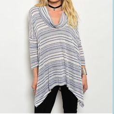 """INDIGO/CREAM RELAX FIT TOP This comfy top features three-quarter sleeves cowl neck line, trapeze hemline and relaxed fit. 58% rayon 25% cotton 17% poly. Small measures: B50"""" W54"""" L30"""" S (3) M (2) L (1) No PayPal and no M place. Purchase on Posh only. No trades. Please comment size needed below and I can make a listing or bundle for you  Tops Tunics"""