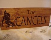 Wood Carved Rustic Last Name Sign downhill snow skier Primitive wood carved Sign Evergreen Trees Cabin Cottage Sign Winter Benchmark Signs
