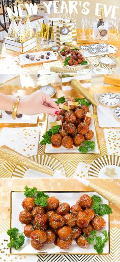 Host a stylish New Year's Eve Party! Recipe for Sweet 'n Spicy Meatballs! The perfect party appetizer, serve up these sweet 'n spicy meatballs at your New Year's Eve Party! New Years Eve Dessert, New Years Eve Party, Party Snacks, Appetizers For Party, Dinner Parties, Dessert Nouvel An, Sweet N Spicy, New Year's Desserts, Spicy Meatballs