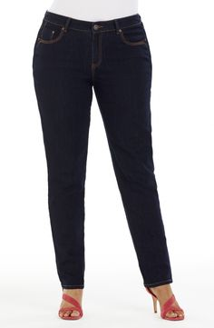 black Style No: Stretch Denim Straight Leg Jean. This Dark Wash denim Jean has the classic 5 pockets and a traditional fly front. Black Style, Stretch Denim, Denim Jeans, Diva, Bridge, Plus Size, Pockets, Traditional, Classic
