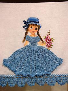 Crochet Crinoline Lady Doily with an umbrella lace Appliqu Crochet World, Crochet Diy, Crochet Home, Thread Crochet, Crochet Motif, Crochet Crafts, Crochet Doilies, Crotchet Patterns, Doll Patterns
