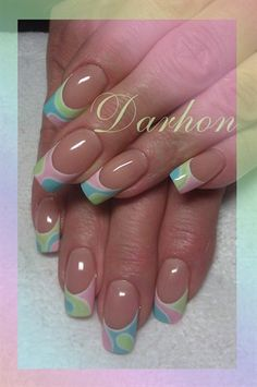 by Darhon - Nail Art Gallery Nails Magazine - lovely spin on the classic french tip. Fabulous Nails, Gorgeous Nails, Pretty Nails, Spring Nail Art, Spring Nails, Uñas Color Coral, Nagel Tattoo, Easter Nails, French Tip Nails