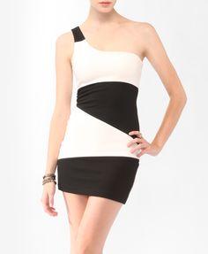 Colorblocked One Shoulder Dress   FOREVER21 - 2087532373    $15.80
