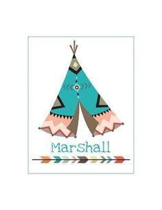 Personalized Tribal Teepee Iron On Heat Transfer.. Your choice DIY..Name, Big Brother or Little Brother