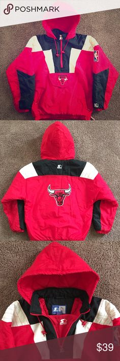 90s Sports Jacket Vintage Starter Chicago Bulls Size XL, Lightly worn, Insulated, Pre Owned, Made in Korea ---- Quarter zip front, Front Velcro pocket with horizontal zipper underneath, quarter waist zipper for breath ability and relaxed fit, zip pockets. Starter Jackets & Coats Puffers