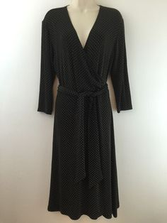 Chicos Travelers 1 Dress Brown Polka Dot Slinky Knit Mock Wrap Belted 8 10 S M #Chicos #WrapDress #WeartoWork