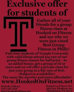 Attention Temple students! With the new year upon us why not take advantage of this great offer to make 2017 your best year yet?  From #TRX to #FlipFitness to #UrbanKick to #BODYSHRED to #Zumba there's something for everyone including one on one personal training! Come on up and see why we were voted as the #BEST in #Philly by The Happening in 2016... Another shot from #HookedOnFitness