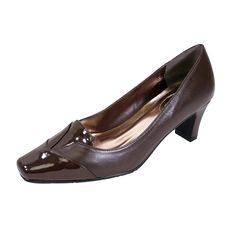 0a0e4cf4400 Peerage FIC Shannon Women Wide Width Square Faux Patent Closed Toe Mid-Heel  Pump %28Size%2FMeasurement%29. Look classic and sleek in the Peerage  Shannon ...