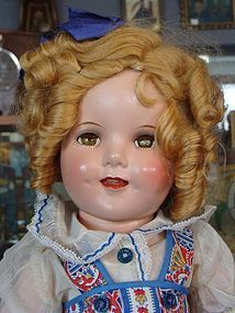 """18"""" Composition Shirley Temple Doll Made by Ideal from Bayberry's Antique Dolls on Doll Shops United http://www.dollshopsunited.com/stores/bayberrys/items/1287811/18-Composition-Shirley-Temple-Doll-Made-by-Ideal #dollshopsunited"""