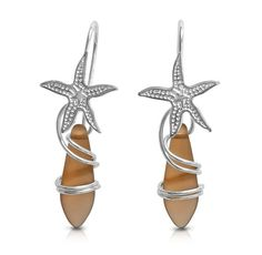Starfish Sterling Silver Earrings Brown Frosted by ToBeMeJewelry