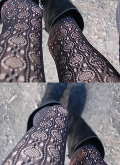 black lace tights Trendy Fashion, Fashion Outfits, Gorgeous Lingerie, Lace Tights, Boot Socks, Tight Leggings, Gothic Lolita, Swagg, Leg Warmers