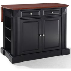Amberly Bar-Top Drop-Leaf Kitchen Island (2.845 BRL) ❤ liked on Polyvore featuring home, furniture, storage & shelves, sideboards, expandable shelf, storage shelving, home storage furniture, drawer shelf and storage shelf