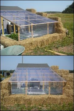 Are straw bale greenhouses strong enough Learn more about building one by heading over to our site! is part of Greenhouse - Heating A Greenhouse, Diy Greenhouse Plans, Window Greenhouse, Backyard Greenhouse, Small Greenhouse, Cold Frame Gardening, Straw Bale Gardening, Underground Greenhouse, Brick Garden