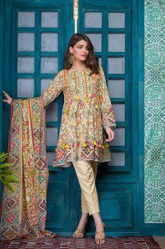 Elegant yellow 3 piece ustitched lawn pret dress by Bonanza Satrangi Eid collection 2018 – Online Shopping in Pakistan Pakistani Casual Wear, Pakistani Formal Dresses, Pakistani Dress Design, Pakistani Outfits, Indian Dresses, Pakistani Clothing, Eid Outfits, Indian Suits, Fashion Outfits