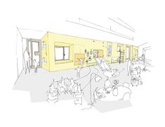 Image 3 of 16 from gallery of Daniel Valle Architects Unveils Winning Kindergarten Design for Seoul. Courtesy of Daniel Valle Architects Architecture Concept Drawings, Architecture Sketchbook, School Architecture, Amazing Architecture, Architecture Design, Architectural Drawings, Kindergarten Interior, Kindergarten Design, Kindergarten Classroom