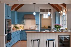 More ideas below: Modern Traditional Kitchen Design Ideas Small Traditional Kitchen Cabinets Rustic Traditional Kitchen Backsplash Remodel White Traditional Kitchen Table Decor Classic Warm Traditional Kitchen Blue Kitchen Designs, Kitchen Colors, Kitchen Layout, Beach Cottage Kitchens, Home Kitchens, Custom Kitchens, Dream Kitchens, Crown Point Cabinetry, Blue Kitchen Cabinets