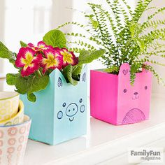 These planters created from milk cartons make winning teacher and Mother's Day gifts. With a craft knife (adults only), cut off the top third of an empty quart-size milk carton and discard. Draw the top edge of the planter, including the outline of the ears, in pencil, then cut along the line. Cover the carton's printing with two or three coats of acrylic paint.  When the paint is dry, draw a face and other features with permanent marker.  Add potting soil and a pretty plant…