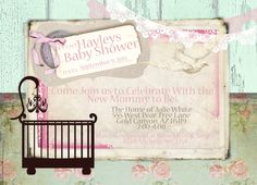 Rustic Vintage Baby Shower Invitation Shabby Printable Customize Digital File 5x7