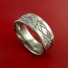 Celtic Titanium Silver Inlay Band Wedding Ring Custom Made to Any Size