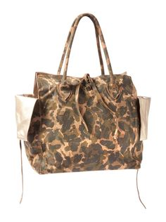 CAMOUFLAGE LEATHER BAG WITH GOLD METALLIC INTERIOR - HANDBAGS