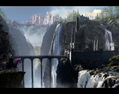 TLG Waterfall Castle 1920 desktop by on DeviantArt Desktop, Fantasy Places, Wallpaper Gallery, Fantasy Landscape, Augmented Reality, Worlds Largest, Travel Inspiration, Scenery, Environment