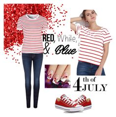 """""""Untitled #3"""" by mayaa19 ❤ liked on Polyvore featuring Converse, J Brand, Glamorous, redwhiteandblue and july4th"""